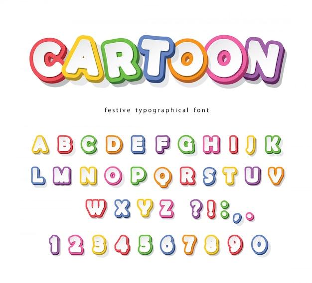 Fonte brilhante dos desenhos animados para crianças. papel cortado alfabeto colorido.