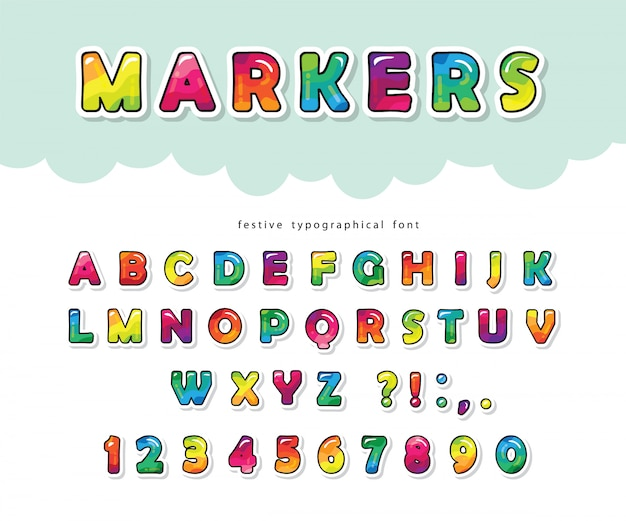Fonte brilhante dos desenhos animados para crianças. pintar com marcadores alfabeto colorido.