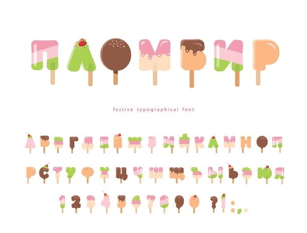 Fonte cirílica de sorvete alfabeto de desenho animado picolé