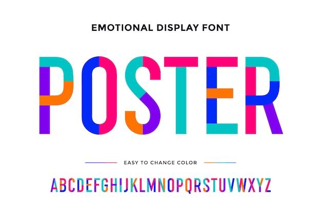 Fonte colorida. alfabeto condensado colorido e fonte