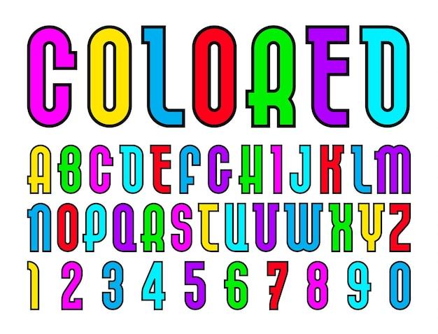 Fonte colorida, alfabeto em estilo simples