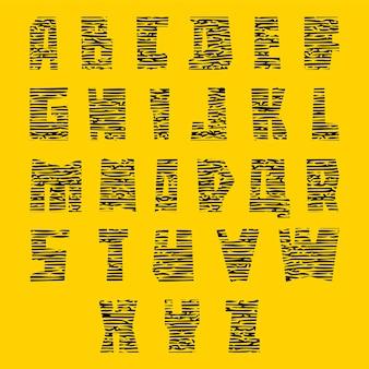Fonte colorida com rachaduras. alfabeto moderno, letras coloridas brilhantes, maiúsculas
