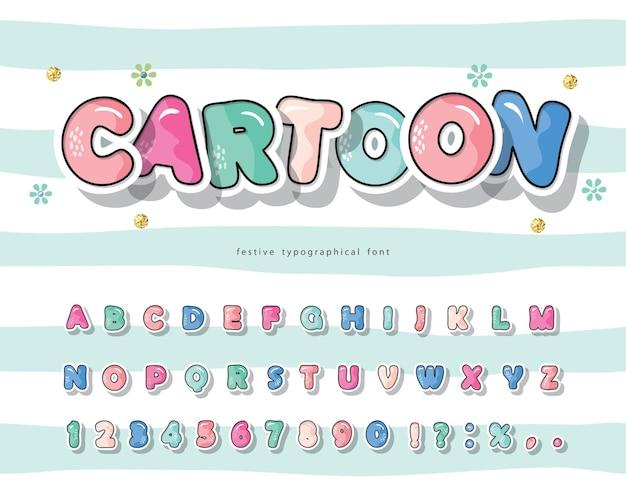 Fonte colorida de desenho animado para crianças