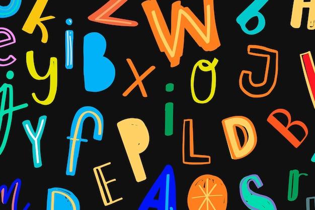Fonte colorida do doodle com fundo estampado