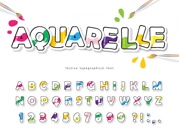 Fonte colorida dos desenhos animados para crianças. alfabeto aquarelle criativo.