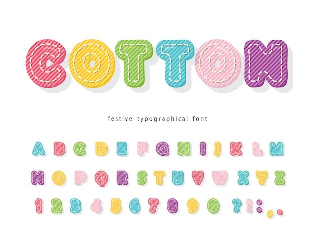 Fonte colorida dos desenhos animados para crianças. alfabeto de textura de algodão.