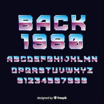Fonte com alfabeto em estilo gradiente