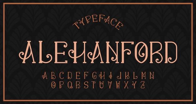 Fonte com serifa alfabeto moderno vintage