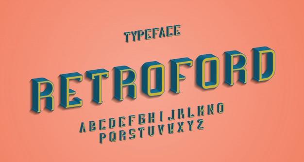 Fonte com serifa alfabeto vintage retrô