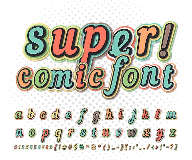 Fonte cómica colorida na página da banda desenhada. alfabeto infantil em estilo pop art. letras e números engraçados multicamadas