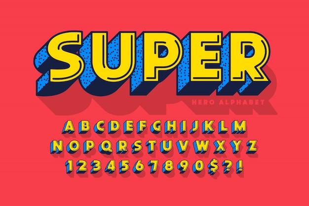 Fonte cômica na moda, alfabeto colorido, tipo de letra.