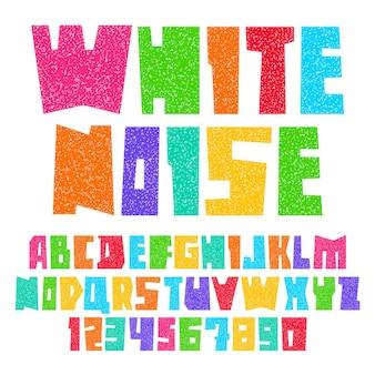 Fonte cortada de folhas de papel. alfabeto moderno, letras coloridas brilhantes com ruído branco, maiúsculas