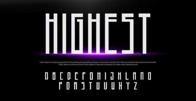 Fonte criativa alfabeto moderno. fontes de estilo urbano de tipografia com luzes
