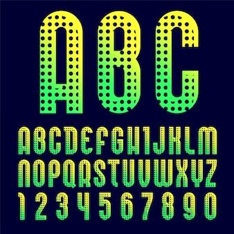 Fonte criativa e brilhante, alfabeto moderno no estilo da pop art, letras e números altos do vetor com padrão de textura pontilhada.