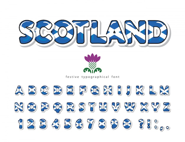 Fonte da escócia. cores da bandeira nacional escocesa.