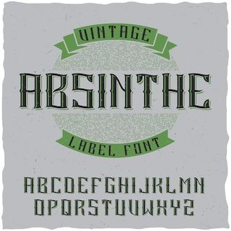 Fonte da etiqueta de absinto e design de etiqueta de amostra