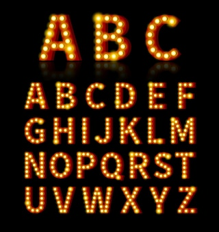 Fonte da lâmpada. texto e sinal, lâmpada brilhante, desenho de alfabeto.
