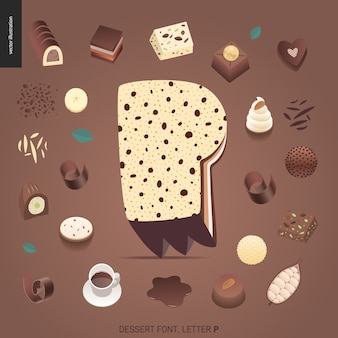 Fonte da sobremesa - letra p - ilustração digital do conceito liso moderno do vetor da fonte da tentação, rotulação doce. caramelo, caramelo, biscoito, waffle, biscoito, creme e chocolate letras