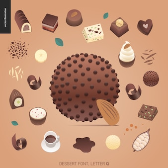 Fonte da sobremesa - letra q - ilustração digital do conceito liso moderno do vetor da fonte da tentação, rotulação doce. caramelo, caramelo, biscoito, waffle, biscoito, creme e chocolate letras