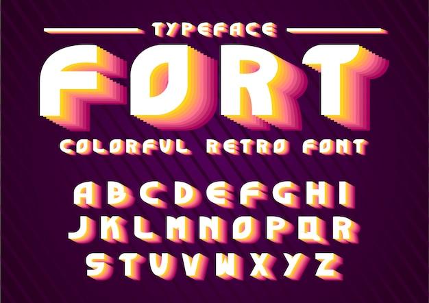 Fonte de ações vetor definido alfabeto negrito retrô tipo retrô, modelo de fonte.