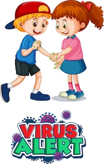 Fonte de alerta de vírus em estilo cartoon com duas crianças não mantém distância social isolada no branco