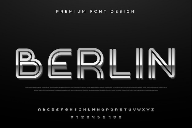 Fonte de alfabeto de linha abstrata com premium de estilo simples e abstrato