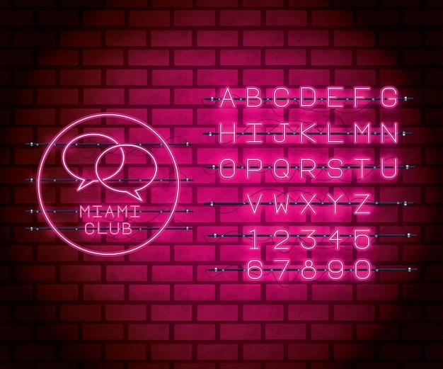 Fonte de alfabeto de luzes de néon