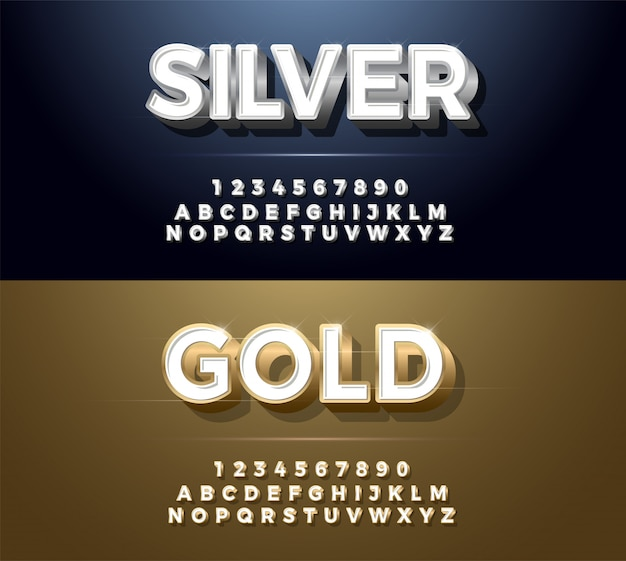 Fonte de alfabeto de metal elegante prata e dourado