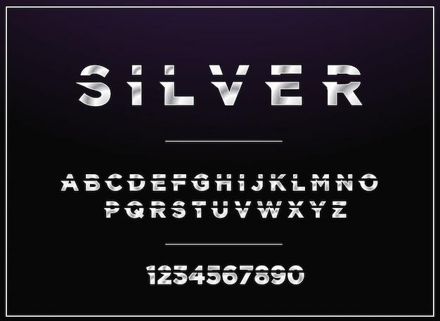 Fonte de alfabeto de prata com números