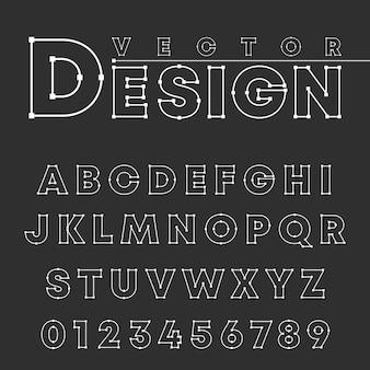 Fonte de alfabeto de vetor linha design