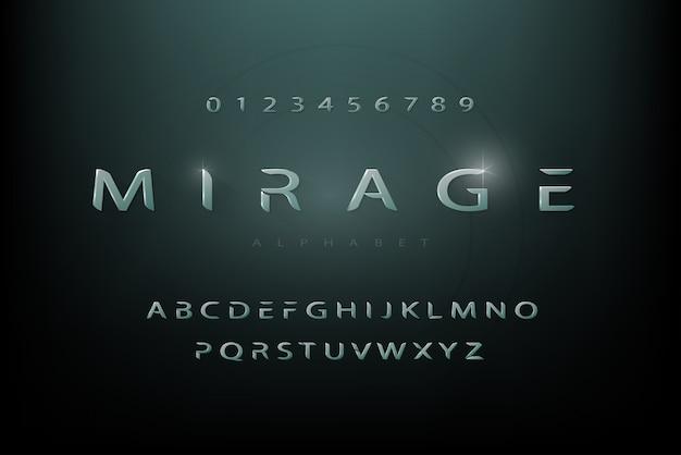 Fonte de alfabeto futurista moderna ficção científica definida com números
