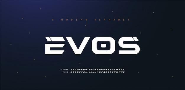 Fonte de alfabeto itálico futuro moderno esporte. fontes de estilo urbano de tipografia para tecnologia, digital, estilo itálico do logotipo do filme. ilustração