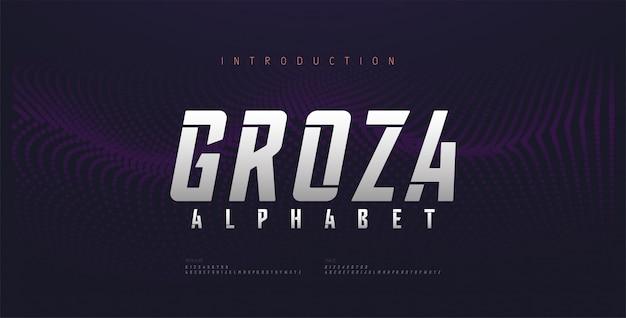 Fonte de alfabeto itálico futuro moderno esporte. fontes de estilo urbano de tipografia para tecnologia, digital, estilo itálico do logotipo do filme.