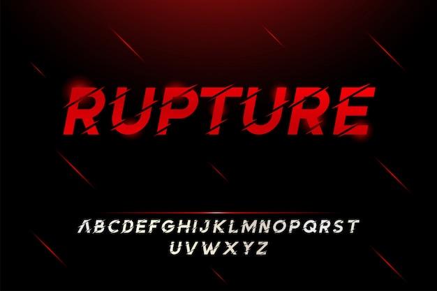 Fonte de alfabeto moderno efeito quebrado