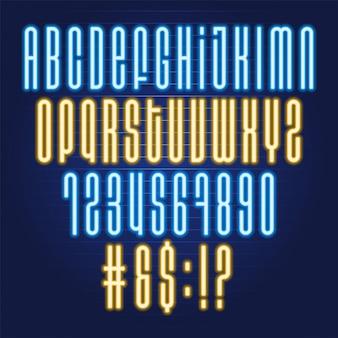 Fonte de alfabeto tubo de néon. tipografia para manchetes, pôsteres, etc.