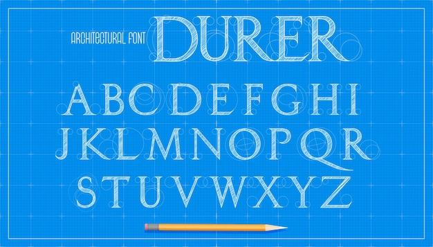Fonte de arquitetura do projeto. alfabeto de letras maiúsculas com serifa. esboço do plano de fundo do projeto do vetor.