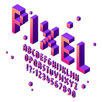 Fonte de arte isométrica pixel. alfabeto de fontes de jogo arcade, jogo retro letras tipográficas cúbicas sinal e conjunto de vetores de números de pixels