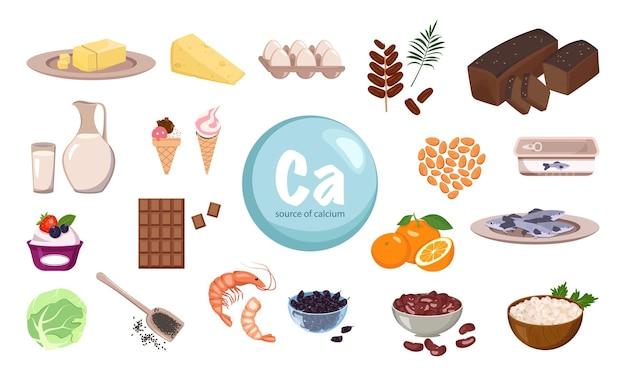 Fonte de cálcio, um conjunto de produtos lácteos nozes e frutas secas, alimentos orgânicos naturais ricos em minerais ...