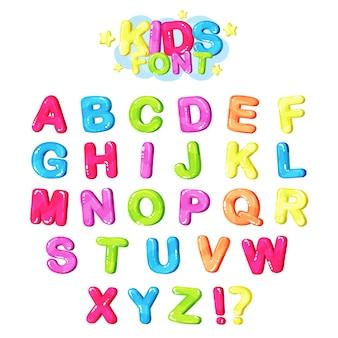Fonte de crianças, letras brilhantes multicoloridas do alfabeto inglês e símbolos de pontuação ilustração