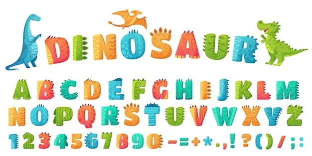 Fonte de dino dos desenhos animados. letras e números do alfabeto de dinossauros