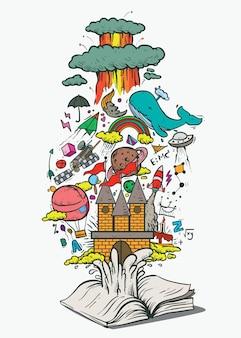 Fonte de doodle de livro de imaginação e conhecimento dos sonhos