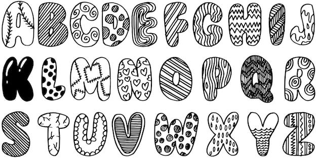 Fonte de doodle desenhado de mão. conjunto de alfabeto de desenho. tipografia desenhada à mão. ilustração vetorial