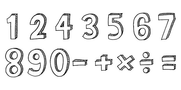 Fonte de doodle desenhado de mão. conjunto de número de esboço. tipografia desenhada à mão. ilustração vetorial