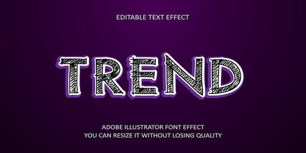 Fonte de efeito de texto editável de vetor de tendência