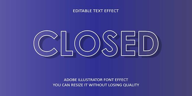 Fonte de efeito de texto editável vetorial fechada