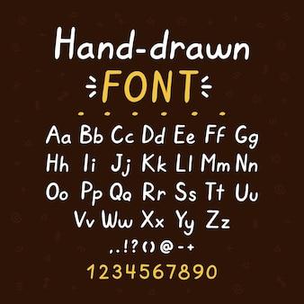 Fonte de escova de estilo desenhado de mão. coleção de conjunto de letras grandes e pequenas do abc. fonte de estilo doodle
