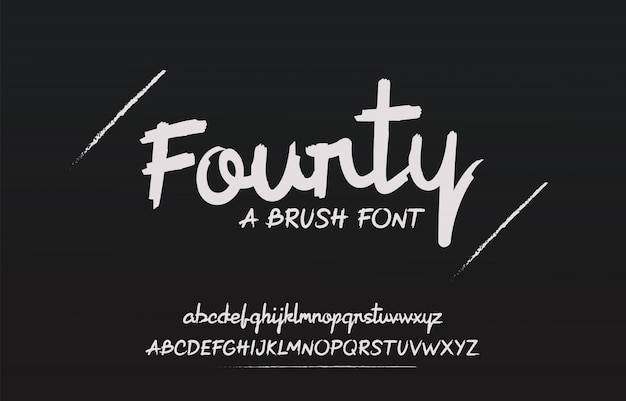 Fonte de escova desenhada mão com letras ásperas e em negrito