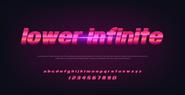 Fonte de espaço de tecnologia abstrata e alfabeto com letra infinita inferior