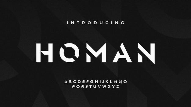 Fonte de estêncil futurista moderna e arrojada, conjunto de letras monocromáticas techno sci fi clean, tipo de letra homan