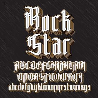 Fonte de estilo gótico moderno da estrela do rock. letras góticas com elementos de decoração.